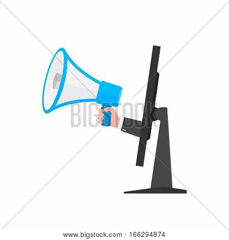 Loudspeaker or megaphone in the male hand coming out from screen of monitor. Blue megaphone and monitor isolated on white background. Vector illustration.