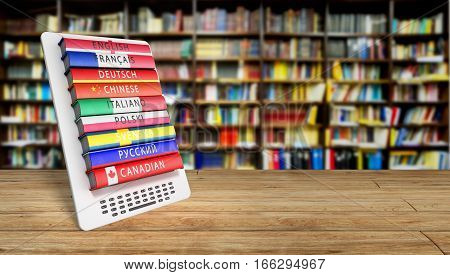 E-boock Learning Languages 3D Render In Library Success Knowlage Concept