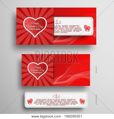 Vector set of greeting card for Valentine's Day with insert stripe ray heart and red wave on the gray background.