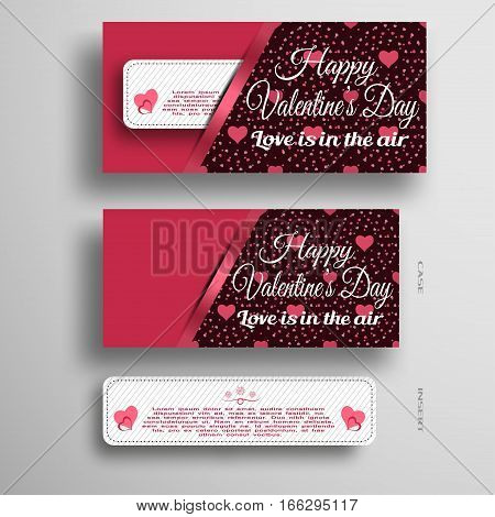 Vector set of greeting paper stripe for Valentine's Day insert in case with dark pattern from hearts and dots on the gray background.