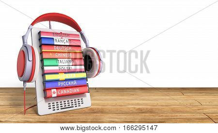 E-boock Learning Languages Online 3D Render On Wood Success Knowlage Concept