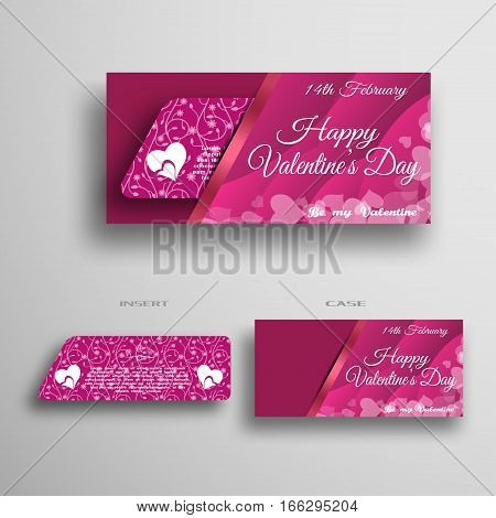 Vector set of greeting card for Valentine's Day insert in case with gradient pink waves pattern and stripe on the gray background.