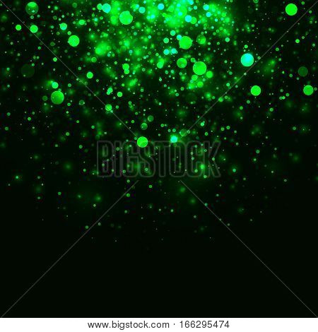 Vector green glowing light glitter abstract background. Magic energy glow light effect. Star burst with sparkles on black background