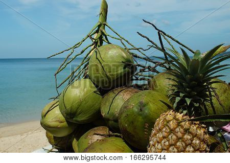 Exotic Fruits On A Background Of Sea
