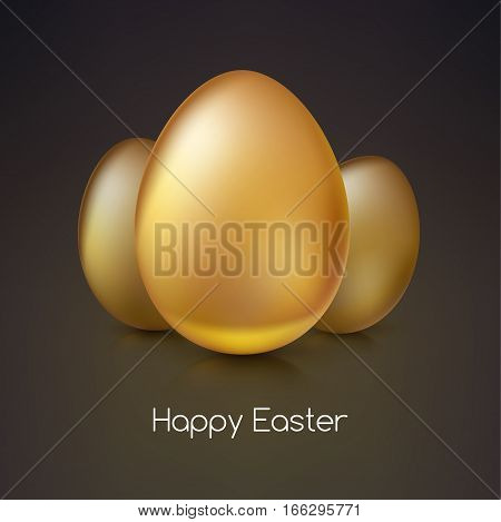 Golden eggs, Realistic Ester egg with reflections and reflexes, volumetric 3D vector illustration. Party invitation template. Perfect for greeting card or elegant party invitation.