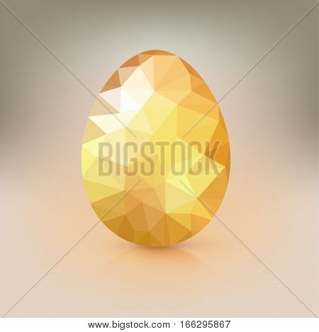 Golden egg from the mosaics, pattern, triangles for Easter. Happy Easter greeting card decorated low poly triangles elements. Template for vip banners or card, exclusive certificate, luxury voucher