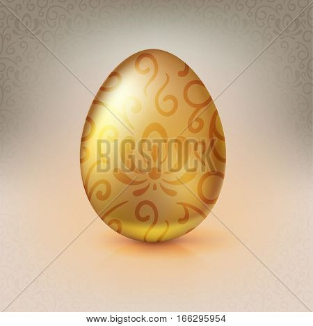 Golden egg with floral pattern. Happy Easter greeting card decorated floral elements on bright background. Template for vip banners or card, exclusive certificate, luxury voucher