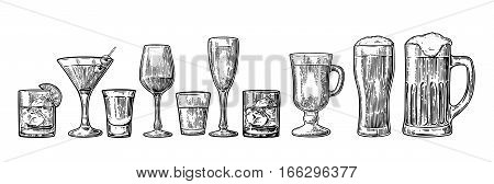Set glass beer whiskey wine tequila cognac champagne cocktails and grog. Vector engraved black vintage illustration isolated on white background.