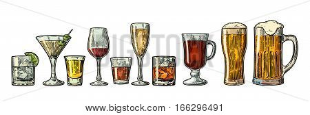 Set glass beer whiskey wine gin rum tequila cognac champagne cocktail and grog. Vector engraved color vintage illustration isolated on white background