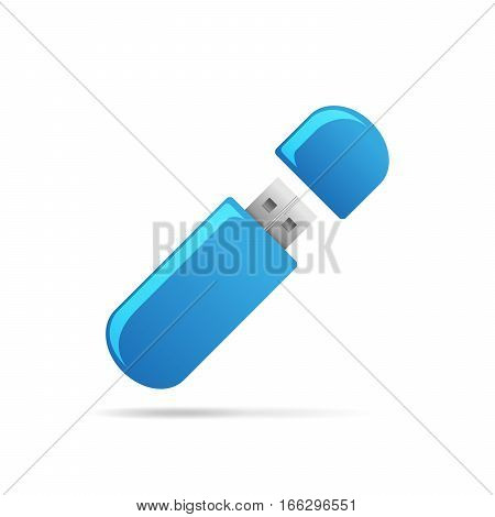USB Flash drive icon. Vector illustration. Blue usb memory card on white background.