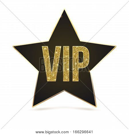 Black five-pointed star with Golden edging and the inscription VIP. Sign of exclusivity and elitism with bright, Golden glow. Template for vip banners or card, exclusive certificate, luxury voucher
