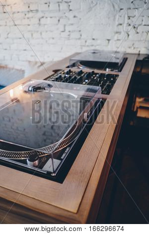 Double turntable in a wooden frame hipster style