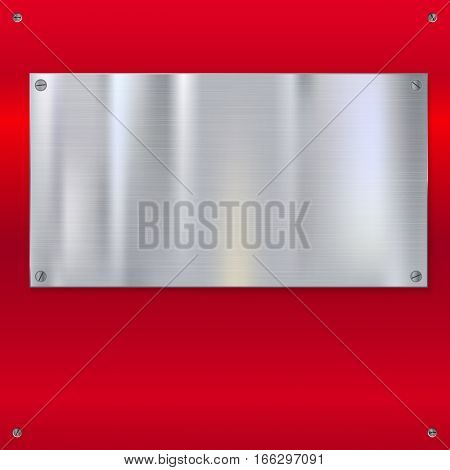 Shiny brushed metal plate with screws. Stainless steel banner on red polished background, vector illustration for you