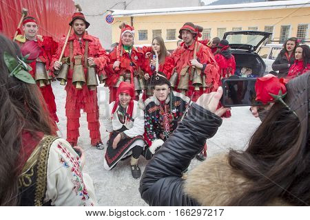 BREZNIK BULGARIA - JANUARY 21 2017: Masquerade players called