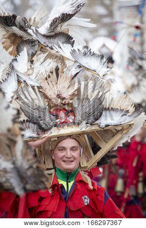 BREZNIK BULGARIA - JANUARY 21 2017: Masquerade player called