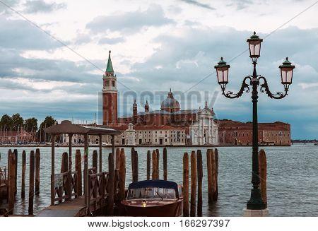 Early morning view of San Giorgio di Maggiore church in Venice Italy