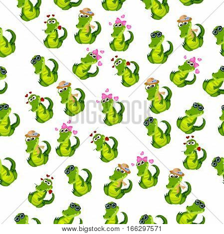 High quality original trendy vector seamless pattern with a cute crocodile or alligator with ribbon