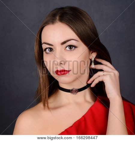 Beautiful Sexy Girl With Red Lips In Dress