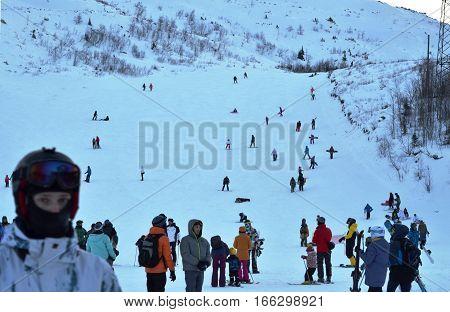 KIROVSK, RUSSIA - JANUARY 04, 2016: Ski resort