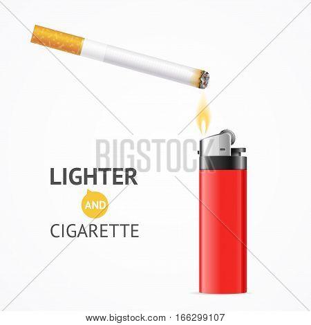 Realistic Red Lighter and Burning Cigarette Card Concept Danger Narcotic Addiction for Design. Vector illustration