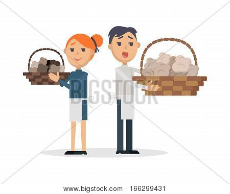 Truffles sellers with mushrooms in wicker baskets. Smiling red-head woman and brunet man in apron standing and holding basket with rare tasty culinary delicasy flat vector isolated on white background