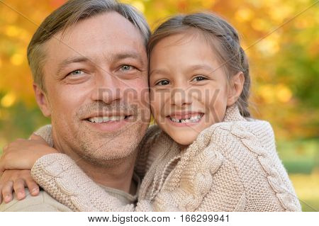 Portrait of a father with daughter, close up