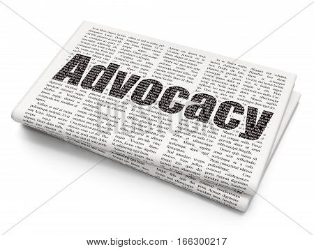 Law concept: Pixelated black text Advocacy on Newspaper background, 3D rendering