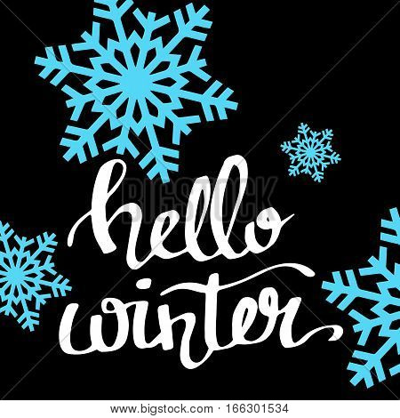 Hello winter text on red knit texture background. Winter season cards december typography greetings for social media. Vector lettering