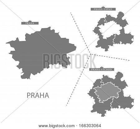 Praha Czech Republic Map in grey illustration