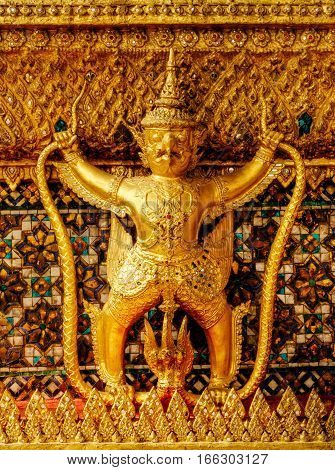 Garuda bird in gold, decoration of kings palace Bangkok, Thailand