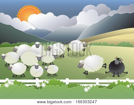 Flock of sheep on green field a black sheep in the family vector illustration