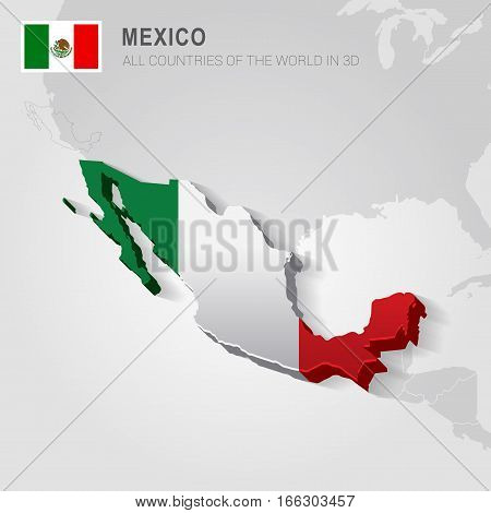Mexico painted with flag drawn on a gray map.