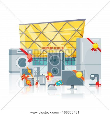 Big sale in electronics store concept. Group of different home technics with labels and price tags near shopping center flat vector illustration isolated on white. For holiday discount promotion