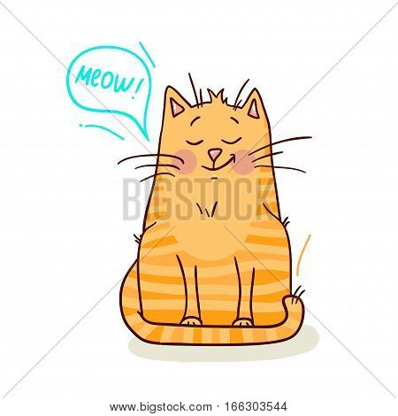 Cute red cat on white background vector illustration.