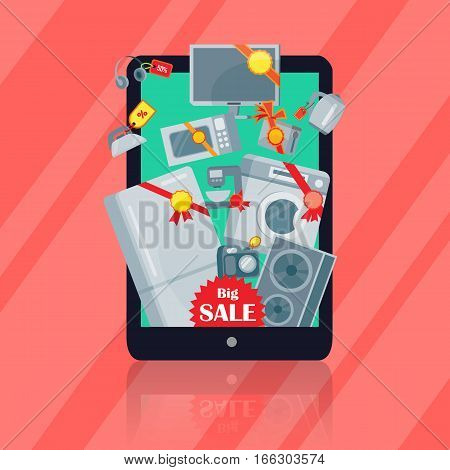 Big sale in electronics store concept. Group of different home technics with labels and price tags on tablet screen flat vector illustration on red. Online shopping. For holiday discount promotion