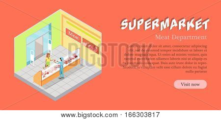 Supermarket meat department banner. Meat products refrigerator. Natural foods of meat in fridge vector illustration. Seller and customer. Flat design. Shelves, freezer, butchery assortment in store.
