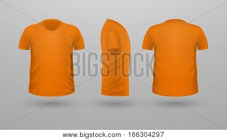 T-shirt template set, front, side, back view. Orange color. Realistic vector illustration in flat style. Sport clothing. Casual men wear. Cotton unisex polo outfit. Fashionable apparel.