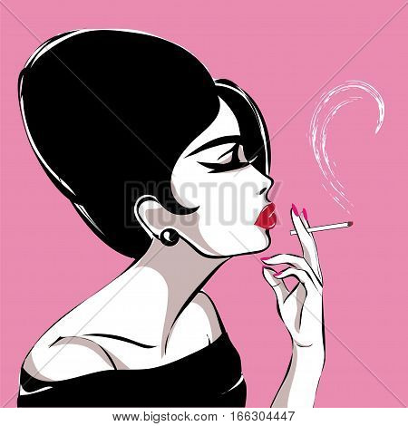 Retro Black And White Fashion Woman Profile Portrait, Smoking Girl Vector Illustration