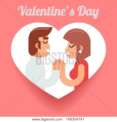 Valentines Day Romantic beloved dating man and woman Symbol Icon Concept Isolated Flat Design Vector Illustration