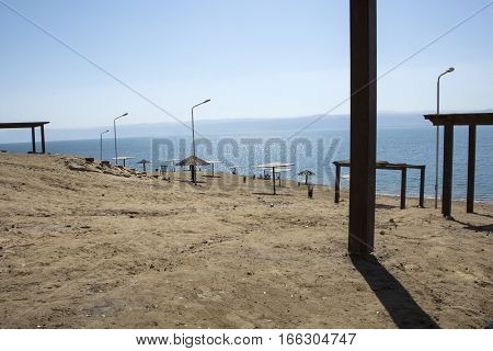 Amman beach in Dead Sea, resort afternoon, tent, pavilion, awning