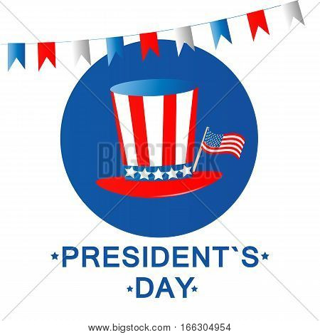 President's day. Vector illustration. Hat and flag on white background
