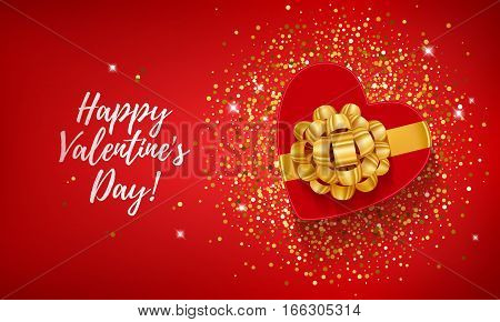 Happy Valentine's day lettering background with heart shape gift box on golden confetti sequins . Love symbol. Beautiful holiday poster banner flyer design.