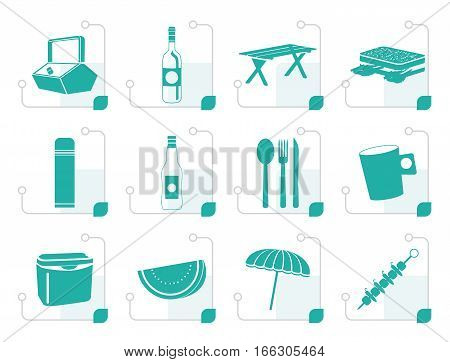 Stylized Picnic and holiday icons - vector icon set