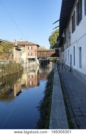 Gorgonzola (Milan Lombardy Italy): road for pedestrians and bicycle along the canal of Martesana.