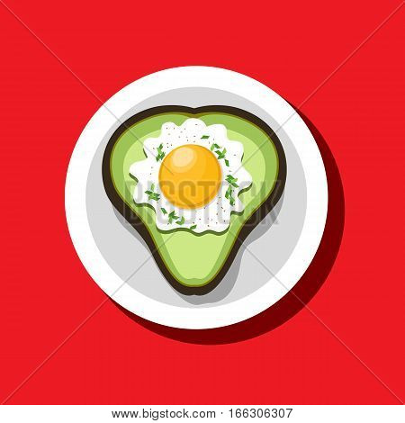 Food icon concept. Fried egg avocado heart shape. Freehand drawn cartoon style. Colorful symbol Valentine day breakfast holiday menu meal. Vector template for cooking sign project banner background