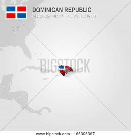Dominican Republic painted with flag drawn on a gray map.