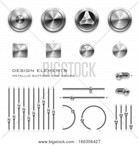High detailed vector illustration of metallic buttons and knobs.
