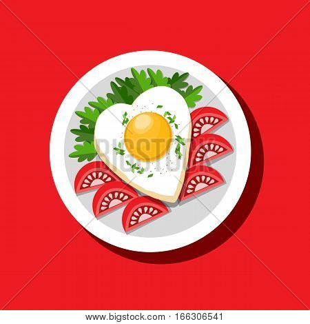 Food icon concept. Fried egg heart shape tomato herb. Freehand drawn cartoon style. Colorful symbol Valentine day breakfast menu cooked meal. Vector template for cooking sign project banner background