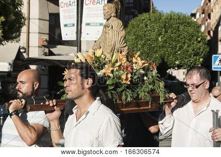 VALLADOLID, SPAIN - JULY 25, 2016: Valladolid (Castilla y Leon Spain): religious procession of Santiago