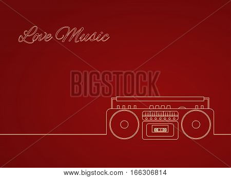 Contour vector illustration of an old cassette recorder. Vector element for your creativity